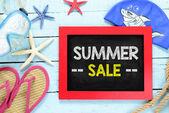 Blackboard frame with summer sale — Stock Photo