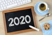 2020 on Blackboard with chalk — Stock Photo