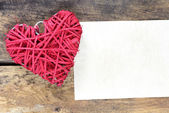 Heart decoration object with card — Stock Photo