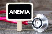 Blackboard with anemia and stethoscope — Stock Photo