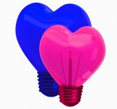 3D glass heart shape lamp — Stock Photo