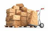 Cardboard boxes on pallet. Cargo, delivery and transportation lo — Stock Photo