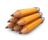 Stapel der Bleistift. 3d-Symbol isoliert auf weißem Hintergrund — Stockfoto