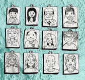 Face people   on Cement wall texture background  — Stock Photo