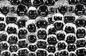 Gente de cara sobre el cemento de la pared fondo de textura — Foto de Stock