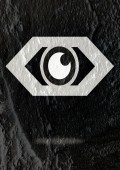 Eye icon character design on Cement wall texture background — Photo