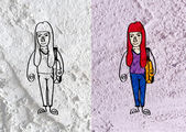 People cartoon   on Cement wall texture background — Stock Photo