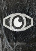 Eye icon character design on Cement wall texture background — Stock Photo