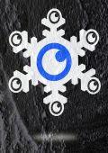 Auge-symbol-charakter-design auf zement-mauer-textur-hintergrund — Stockfoto