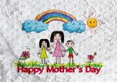 Happy mothers day card with family cartoons in illustration on w — Stock Photo