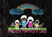 Happy family father, mother, son and daughter on wall texture ba — Stockfoto