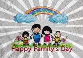 快乐家庭的父亲、 母亲、 儿子和墙纹理英国航空公司的女儿 — 图库照片