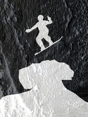 Skateboarders silhouettes  on Cement wall texture background des — Stock Photo