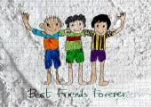 Happy Friendship Day and Best Friends Forever on wall texture ba — Stock Photo