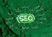 Seo Idea SEO Search Engine Optimization on Cement wall texture  — Foto Stock