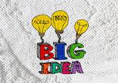 Big idea concept light bub on Cement wall texture background des — Stock Photo