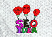 Seo Idea SEO Search Engine Optimization on Cement wall texture b — ストック写真