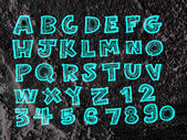 Hand drawn letters font written on wall texture background desig — Foto Stock