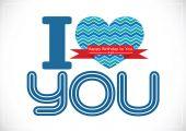Eu amo você e o projeto de idéia de cartão de feliz aniversário — Vetor de Stock