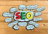 Seo Idea SEO Search Engine Optimization on Cardboard Texture ill — Stock Vector