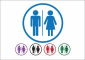 Pictogram Man Woman Sign icons, toilet sign or restroom icon — Vector de stock