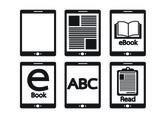 E-book reader  and e-reader icons set — Stockvector