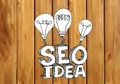 Seo Idea SEO Search Engine Optimization on wood background plank — Stock Vector