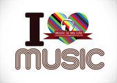 Kocham muzykę i muzyka to moje życie słowo czcionki typu objawy pomysł — Wektor stockowy