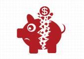 Broken Piggy Bank — Stock Vector