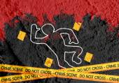 Crime scene danger tapes illustration on wall texture background — Fotografia Stock