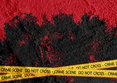 Crime scene danger tapes illustration on wall texture background — Stock Photo