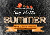 Summer idea design card on Cement wall  Background texture — Stock Photo