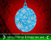 Merry Christmas And Happy New Year card  on Cement wall Backgrou — Stock Photo