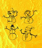 Snowman on Cement wall Background texture — Stock Photo