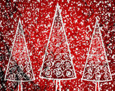 Christmas tree  on Cement wall Background texture — Stock Photo