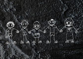 Cartoon teenagers on Cement wall Background texture — Foto de Stock