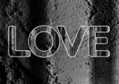 LOVE Font Type for Valentines day card on Cement wall Background — Stock Photo