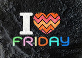 I love friday font type signs on Cement wall Background texture — Stock Photo