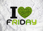 I love friday font type signs on Cement wall Background texture — ストック写真