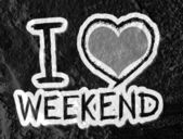 I love weekend on Cement wall Background texture — Stok fotoğraf
