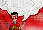 Menschen denken Menschen sprechen und Sprechblase auf Zement-Wand — Stockfoto