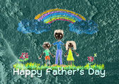 Happy Father's Day on Cement wall texture background — Stock Photo