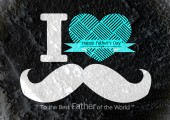 Father's Day card with mustache  on Cement wall texture backgrou — Zdjęcie stockowe