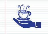Hand holding koffiekopje — Stockvector