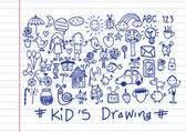 Kids and children's hand drawings  — 图库矢量图片