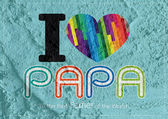 Happy Father's Day card , love PAPA on Cement wall texture backg — Stock Photo