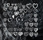 Heart drawing and valentines day hearts for your works — Stock fotografie