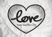 Happy Valentine's Day Greeting Card on Cement wall texture backg — Stock Photo