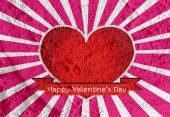 Happy Valentine's Day Greeting Card on Cement wall texture backg — Stockfoto