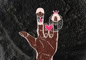 Cartoon hand drawn wedding couple card — Stock Photo